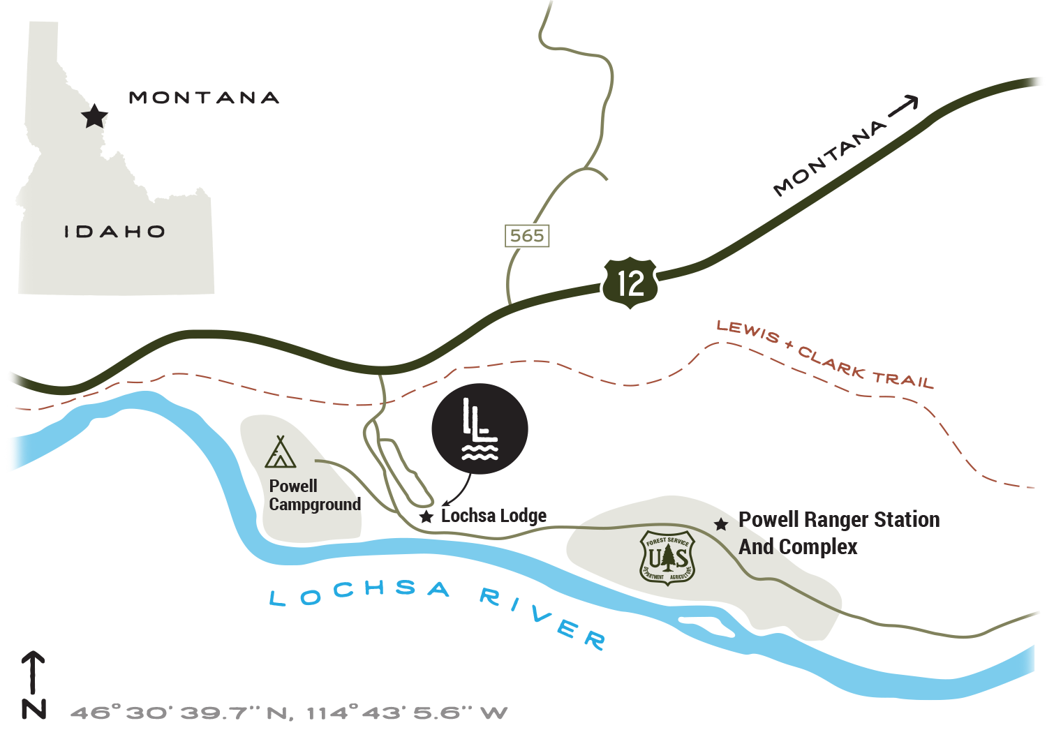 Lochsa Lodge Map
